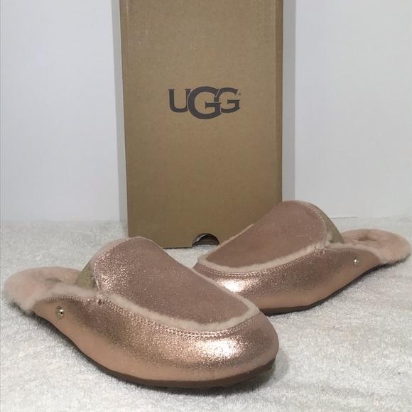 acc7da63138 UGG Lane Metallic Rose Gold Slippers Mules 1096459 NWT